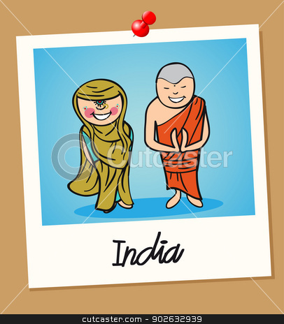 India travel polaroid people stock vector clipart, Indian man and woman cartoon couple in vintage instant photo frame. Vector illustration layered for easy editing. by Cienpies Design