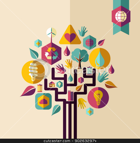 Vintage green concept tree stock vector clipart, Retro style save the Earth tree idea with icons set. This illustration is layered for easy manipulation and custom coloring by Cienpies Design