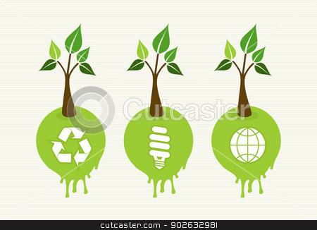 Green concept tree icon set stock vector clipart, Flat style save the Earth tree idea with icons set. This illustration is layered for easy manipulation and custom coloring by Cienpies Design