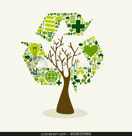 Green recycle symbol concept tree stock vector clipart, Save the Earth tree idea with icons set. This illustration is layered for easy manipulation and custom coloring by Cienpies Design