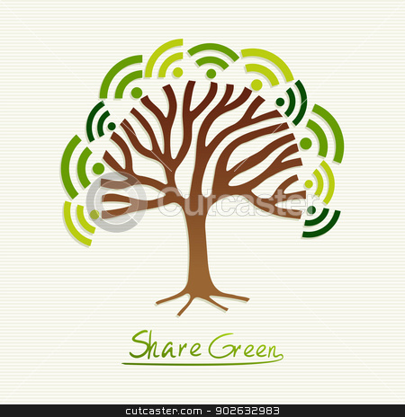 Green concept tree stock vector clipart, Save the Earth tree idea with share icon set. This illustration is layered for easy manipulation and custom coloring by Cienpies Design