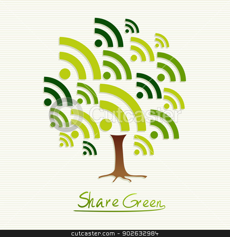 Green concept share icon tree stock vector clipart, Save the Earth tree idea with share icon set. This illustration is layered for easy manipulation and custom coloring by Cienpies Design