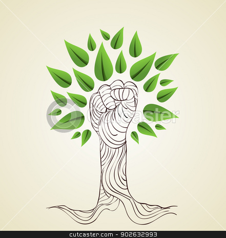 Go Green hand concept tree stock vector clipart, Hand draw style save the Earth tree idea. This illustration is layered for easy manipulation and custom coloring by Cienpies Design