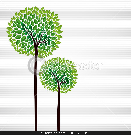 Cute concept trees design stock vector clipart, Trendy isolated green trees forest drawing. Vector file layered for easy manipulation and custom coloring.    by Cienpies Design