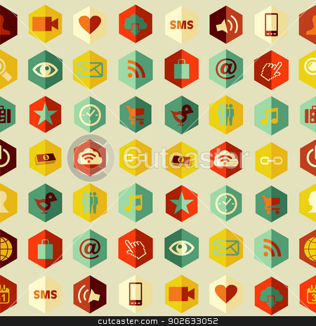 Social app icons set pattern stock vector clipart, Social media apps icons seamless pattern. Vector illustration layered for easy manipulation and custom coloring. by Cienpies Design