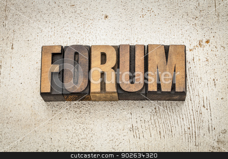 forum word in wood type stock photo, forum word in vintage letterpress wood type on a grunge painted barn wood background by Marek Uliasz