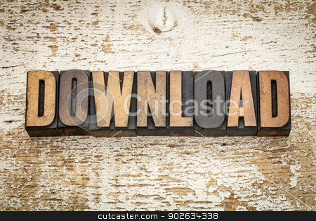 download word in wood type stock photo, download word in vintage letterpress wood type on a grunge painted barn wood background by Marek Uliasz