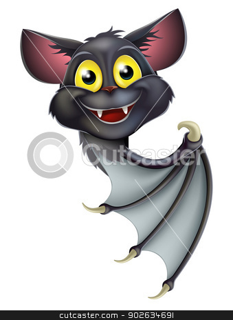 Halloween Bat Pointing stock vector clipart, A happy cartoon black bat, perhaps a Halloween vampire bat, peeking round a banner and pointing by Christos Georghiou