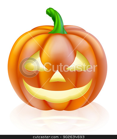 Halloween lantern pumpkin stock vector clipart, An illustration of a cute cartoon carved Halloween pumpkin lantern with happy smile  by Christos Georghiou