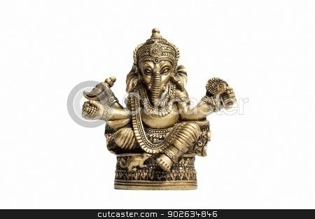 Golden Hindu God Ganesh stock photo, Statuette hindu god Ganesh isolated on the white background. by Petr Yakubson