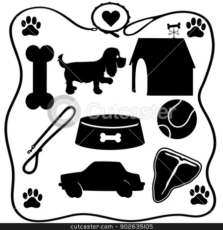 Dog Stuff Silhouettes stock vector clipart, Assoted silhouettes of the things dogs love - a bone,food,steak,cars etc by Maria Bell