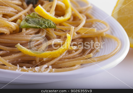 Pasta stock photo, Close up of a plate with spaghetti with lemon by Fabio Alcini