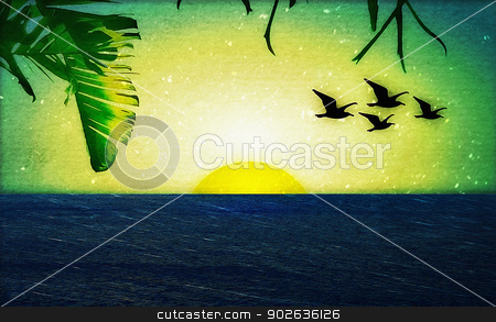 Sunset with Birds and Palm Trees stock photo, Photo collage of a sunset with birds and palm trees.Vector and Pixel art technique. by Daniel