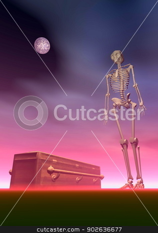Coffin and skeleton - 3D render stock photo, White skeleton next to a coffin by dark red night with full moon by Elenarts