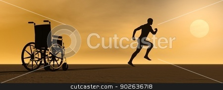 Miracle - 3D render stock photo, Happy man running up from a wheelchair to the sun by Elenarts