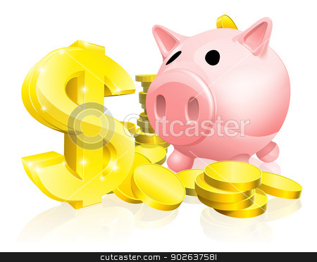 Dollar sign piggy bank stock vector clipart, Illustration of a pink piggy bank with lots of gold coins and a big dollar sign or symbol by Christos Georghiou