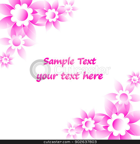 Pink flowers card stock vector clipart, Pink flowers card text Valentine´s Day, Birthday, Mother´s Day by kurkalukas