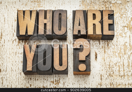 who are you question stock photo, who are you question in vintage letterpress wood type on a grunge painted barn wood background by Marek Uliasz