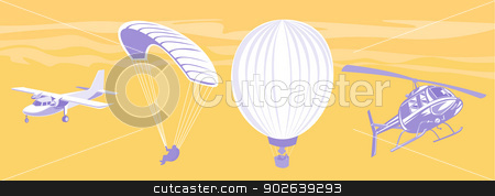 propeller airplane airliner parachute hot air balloon and helicopter stock vector clipart, illustration of a propeller airplane airliner parachute hot air balloon and helicopter by patrimonio