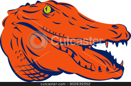 alligator done in retro style stock vector clipart, illustration of a an alligator done in retro style by patrimonio