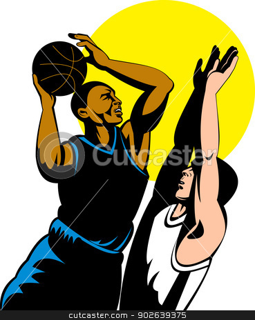basketball player shooting ball stock vector clipart, illustration of a basketball player shooting ball done in retro style by patrimonio