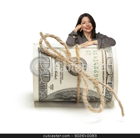 Hispanic Woman Leaning on a Roll Of Hundred Dollar Bills stock photo, Attractive Hispanic Woman Leaning on a Roll Of One Hundred Dollar Bills Isolated on a White Background. by Andy Dean