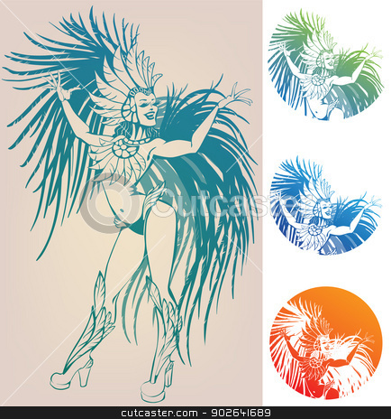 ink linework dancing girl in carnival feather costume stock vector clipart, inked line work gorgeous pretty smiling young woman dancing in carnival feather costume by Jera