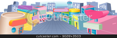 Cartoon street of shops stock vector clipart, A colourful cartoon street of shops with blank signs  by Christos Georghiou