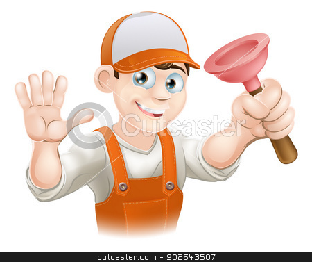 Cartoon Plumber holding Plunger stock vector clipart, A cartoon plumber holding plunger and smiling and waving by Christos Georghiou