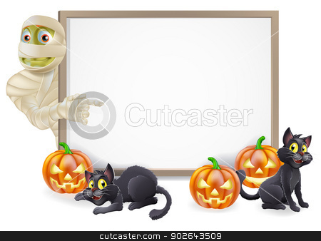 Halloween Mummy Sign stock vector clipart, Halloween sign or banner with orange Halloween pumpkins and black witch's cats, witch's broom stick and cartoon Egyptian mummy character  by Christos Georghiou