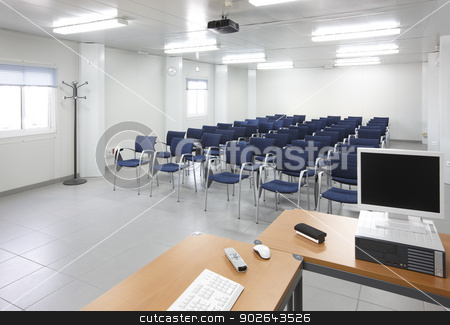 Classroom stock photo, Classroom with interactive projection system nobody horizontal by ABBPhoto