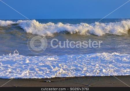waves on ocean coast stock photo,  waves on atlantic ocean coast in iceland by Iordache Magdalena