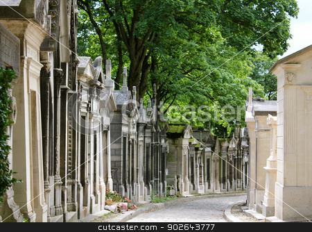 Mausoleums stock photo, Aged and weathered mausoleums lining both sides of a path in Pere Lachaise Cemetery, Paris, France by Monia Kosciejew