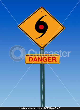 tornado danger warning stock photo, road sign with tornado icon and danger warning over sky by RedDaxLuma