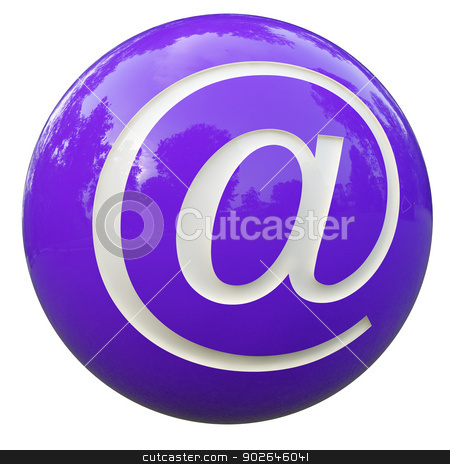ball with the letter arroba stock photo, 3d purple ball with the letter arroba isolated on white with clipping path  by croreja
