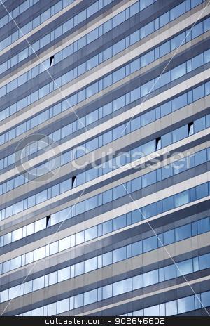 facade of modern building reflecting sky stock photo, facade of modern building reflecting blue sky by anton havelaar