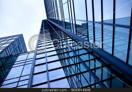 modern blue building of glass and steel stock photo, modern building of glass and steel reflecting blue sky by anton havelaar