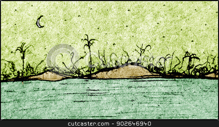 Hand draw landscape illustration  stock photo, Hand draw landscape illustration showing an island with plants and mountains. by Daniel
