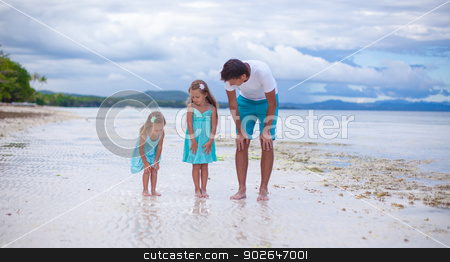 Young father and his two little daughters have fun on the sea stock photo, Young father and his two little daughters have fun on the sea by Dmitry Travnikov