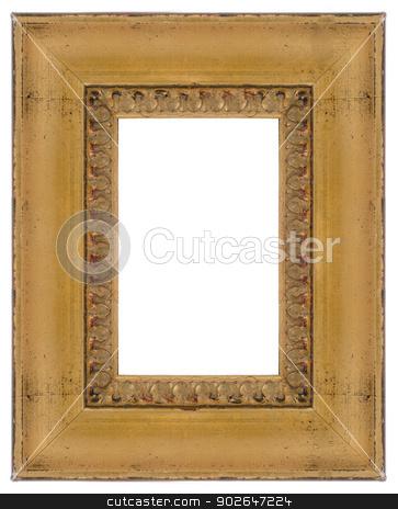 Golden frame stock photo, Golden wooden frame for paintings or photographs. by Homydesign
