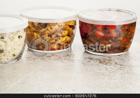 dinner meal in glass containers stock photo, stir fry dinner meal or leftovers stored in glass containers by Marek Uliasz