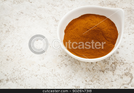 mangosteen fruit powder stock photo, mangosteen fruit powder in a small bowl against a ceramic tile background by Marek Uliasz