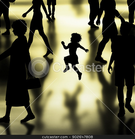 Happy girl stock vector clipart, Editable vector silhouette of a young girl skipping in a crowded hall made using a gradient mesh by Robert Adrian Hillman
