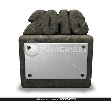 year 2016 stock photo, stone number 2016 on socket with blank white sign - 3d illustration by J?
