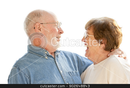 Happy Senior Couple Laughing on White stock photo, Affectionate Happy Senior Couple Laughing Together Isolated on White. by Andy Dean