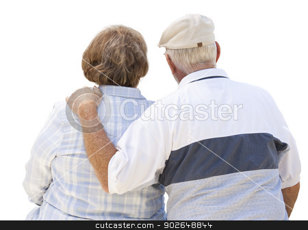 Happy Senior Couple From Behind on White stock photo, Happy Senior Couple From Behind Isolated on White. by Andy Dean