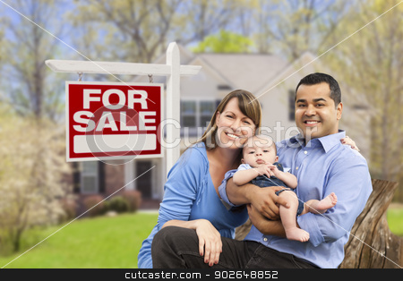Couple in Front of For Sale Sign and House stock photo, Happy Couple in Front of For Sale Real Estate Sign and New House. by Andy Dean