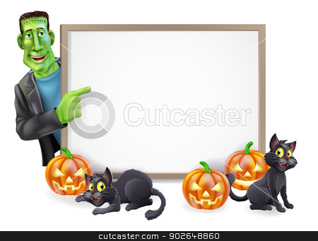 Halloween Illustration stock vector clipart, Illustration of a cartoon Halloween sign with Frankenstein classic monster pointing at blank sign ready for your text. Also features carved pumpkin lanterns and black cats  by Christos Georghiou