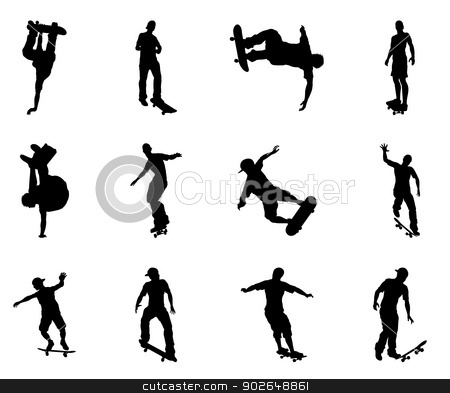 Skating skateboarder silhouettes stock vector clipart, Skateboarders performing lots of tricks on their boards. Very high quality detailed skating skateboarder silhouette outlines. by Christos Georghiou