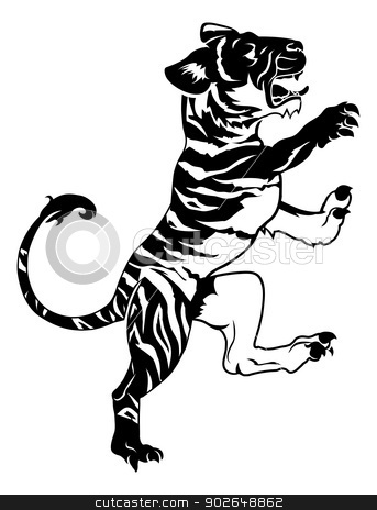 Stylised tiger illustration stock vector clipart, An illustration of a stylised tiger perhaps a tiger tattoo by Christos Georghiou
